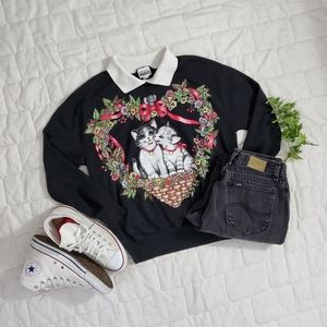 Vintage Cat and Mouse Floral Preppy Collar Sweater